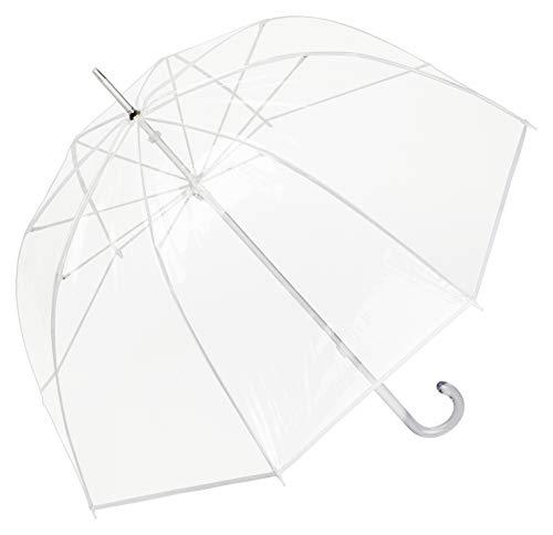VON LILIENFELD Regenschirm Glockenschirm Transparent Durchsichtig Hochzeitsschirm Damen Herren Melina weiß