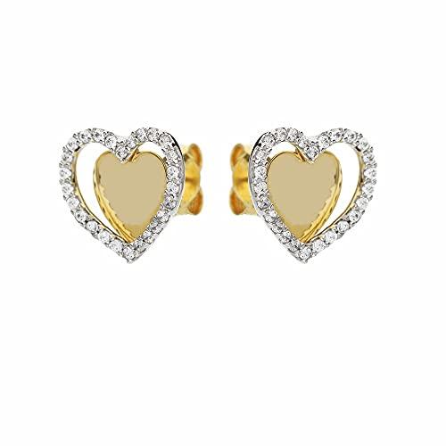 Pendientes de oro blanco y amarillo de 18 quilates con corazones para mujer