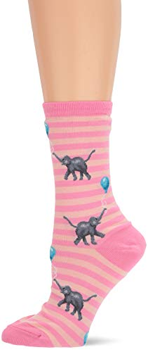 Hot Sox Women's Animal Series Novelty Casual Crew Socks, Elephants with Balloons (Pink), Shoe Size: 4-10