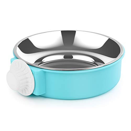 Mamilafe Crate Dog Bowl Removable Stainless Steel Hanging Cage Bowl Food Water Feeder for Medium Small Dog, Cat, Pets, Blue, Large