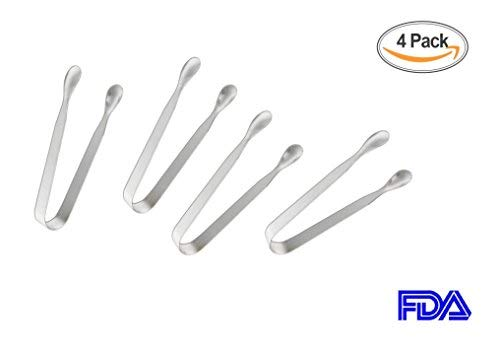 """Sugar Tongs for Tea Party Food Folder and Ice Clip Kitchen Tongs(4 Pack),Heavy Duty,Premium 304 Stainless Steel Mini Ice Tongs Silver,Coffee Bar, Appetizer Tongs,4.5"""""""