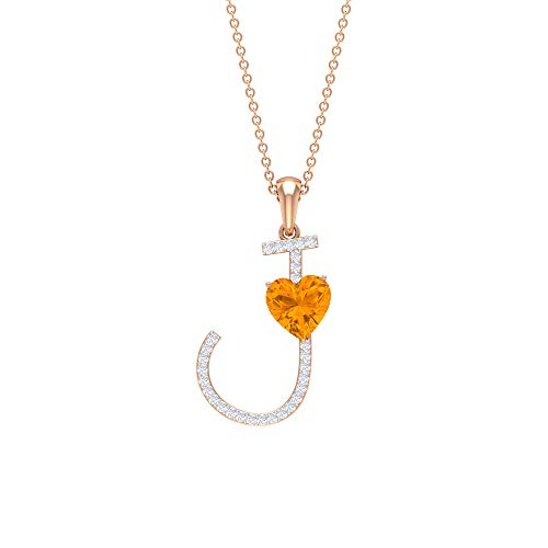 Letter J Pendant Chain, 1/3 CT Moissanite Initial Pendant, 7 MM Lab Created Orange Sapphire Necklace, 18K Rose Gold With Chain