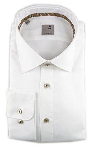 Seidensticker Herren Langarm Hemd Schwarze Rose Slim Fit Paul Tape2 weiß strukturiert 243480.01 (Kragenweite: 43 cm, Weiß)