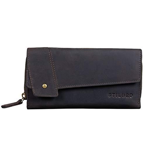STILORD 'Sophia' Portemonnaie Damen Leder RFID NFC Schutz Vintage Geldbörse Groß Geldbeutel mit Reißverschluss und Ausleseschutz in Geschenkbox, Farbe:dunkel - braun