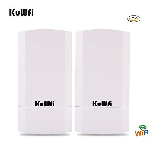 KuWFi Kit CPE outdoor wireless da 300 GB a 2 pacchetti, Bridge/CPE wireless point-to-point per interni ed esterni Supporta 1 km di distanza per la trasmissione a distanza PTP, applicazione PTMP