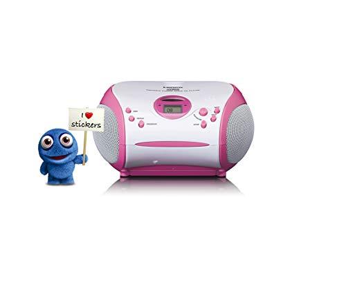 Lenco SCD-24 Kids - CD-Player für Kinder - CD-Radio - mit Aufklebern - Boombox - UKW Radiotuner - Titel Speicher - 2 x 1,5 W RMS-Leistung - Netz- und Batteriebetrieb - Rosa