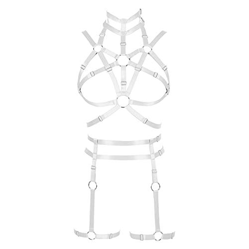 Moda para Mujer Punk Body Arnés Sujetador Lencería de Cuerpo Completo Conjunto de Liga Liguero Cinturón gótico Carnaval Traje de Baile (Blanco)