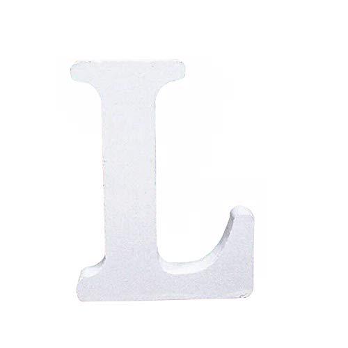 Holzbuchstabe Buchstabe, Toifucos A-Z DIY Englisch Alphabet Holz Buchstaben Handwerk Ornamente für Zuhause Hochzeit Geburtstagsfeier Dekoration Zubehör, Weiß 1 pcs L