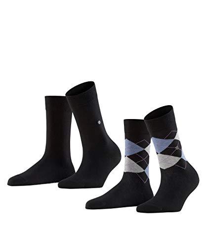 BURLINGTON Damen Socken Everyday 2-Pack, Baumwolle, 2er Pack, Schwarz (Black 3000), 36-41 (UK 3.5-7 Ι US 6-9.5)