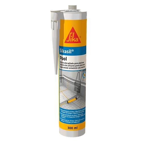 Sikasil Pool, Blanco, Sellador de Silicona neutra para juntas en piscinas, Alta resistencia al cloro y antifungicida, 300ml