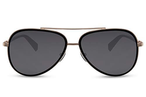 Cheapass Gafas de sol Sunglasses Aviador Racing Shades Gold Metal Black Marco interior y lentes oscuros UV400 para hombre protegido