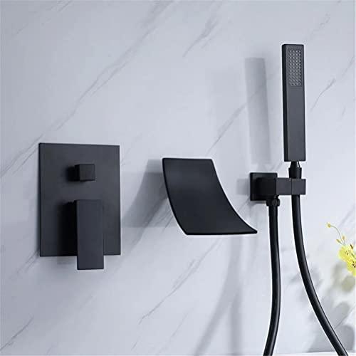Grifo de Bañera y Ducha, Moderno Pared Instalación Válvula de Cerámica Baño Relleno Grifos de ducha Empotrados, Monomando Cascada Canalón Ducha Set Con PVC Manguera de ducha,Negro
