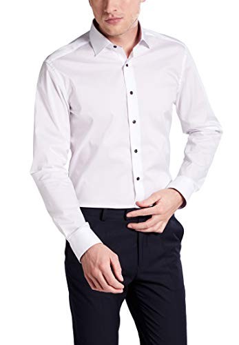eterna Langarm Hemd Slim FIT Stretch unifarben, Weiß, Gr. W43 Langarm