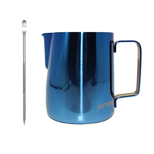 ARTWIND Milk Frothing Pitcher 20oz600ml Stainless Steel Coffee Milk Frother Cup Espresso Steaming Pitchers Blue Color 20 oz/600 ml