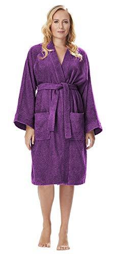 Archee - Peignoir de Bain en éponge Court en stil Kimono pour Femme 100% Coton Robe de Chambre, Couleur : Prune, Taille: L/XL