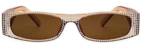 Moda Gafas De Sol Cuadradas De Diamante para Mujer, Gafas De Sol De Cristal Pequeñas De Marca para Mujer, Gafas De Sol con Espejo para Mujer, Gafas De Sol Uv400 Cleartea
