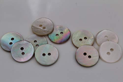 10 Stück, natürlich Schimmernde Perlmuttknöpfe, 2 Loch aus europäischer Fertigung, flach in 7 Größen erhältlich Perlmutt (12mm)