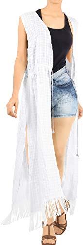 LA LEELA Mujeres Algodón Praia de Encaje Largo Kimono Cardigan Ganchillo de La Vendimia Borlas Midi Vestido Exóticas Protector Solar Ropa de Playa Ghosts Blanco_C139