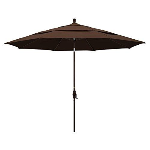 California Umbrella 11' Round Aluminum Market Umbrella, Crank Lift, Collar Tilt, Bronze Pole, Pacifica Mocha