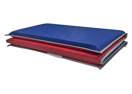 KinderMat, 5/8' Thick with Pillow Section, 4-Section Rest Mat, 45' x 19' x 5/8', Red/Blue with Grey Binding, Great for School, Daycare, Travel, and Home, Made in The USA