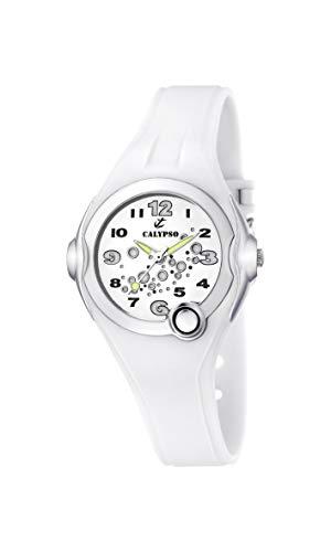 Calypso 5562/1 - Reloj Unisex de Cuarzo, Correa de Goma Color Blanco (con luz)