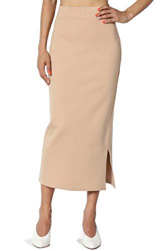 TheMogan Women's Side Slit Ponte Knit High Waist Mid-Calf Pencil Skirt Taupe 3XL