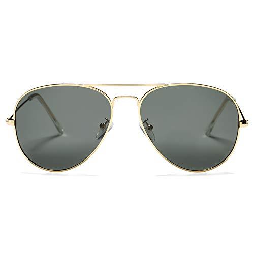 Pro Acme Classic Polarized Aviator Sunglasses for Men and Women UV400 Protection Gold Frame/Black Lens