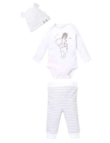 Ensemble Pantalon, Body et Bonnet bébé Winnie L'ourson Blanc/Gris de 3 à 24mois - Blanc/Gris, 6 Mois