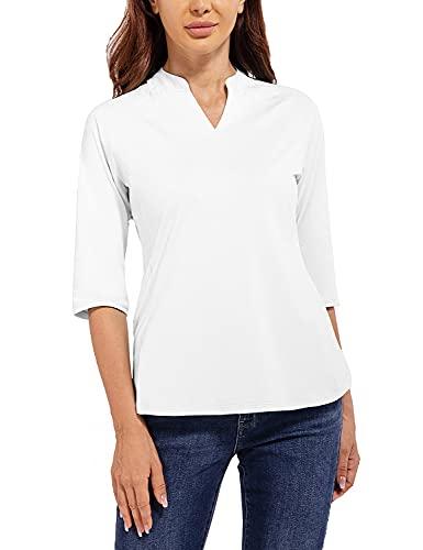 BALEAF Women's White Blouse 3/4 Sleeve V-Neck Shirts Tunic Tops Casual Workwear Shirts Loose Fit Size M