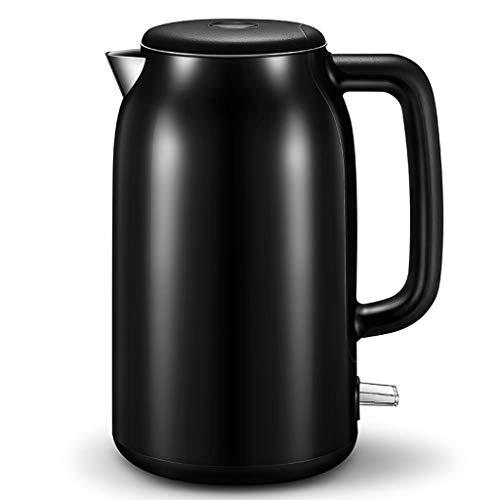 YVX Jarra eléctrica para hervidor de Agua de 1.7 litros y 1500 W de Acero Inoxidable (Color: Negro)
