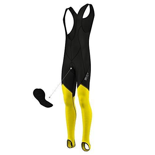 Salopette termica da uomo per ciclismo, invernale, in tessuto termico Vuelta elasticizzato, prodotta in Italia, Uomo, Yellow