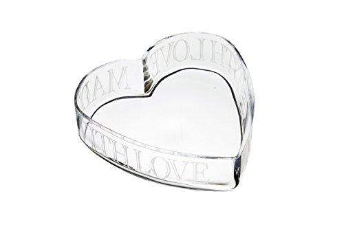 Transparent 24/x 23/cm Kitchencraft Masterclass Artes/à fabriqu/é avec Amour en Verre grav/é en Forme de Coeur Bol