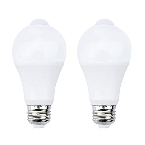Bonlux 7W E27 PIR Infrarouge Ampoule LED avec Détecteur de Mouvement ON/OFF Automatiquement A60 220V 700lm équivalent 70W Halogène pour Escalier Couloir Garage(Lot de 2,Blanc Chaud 2700k)