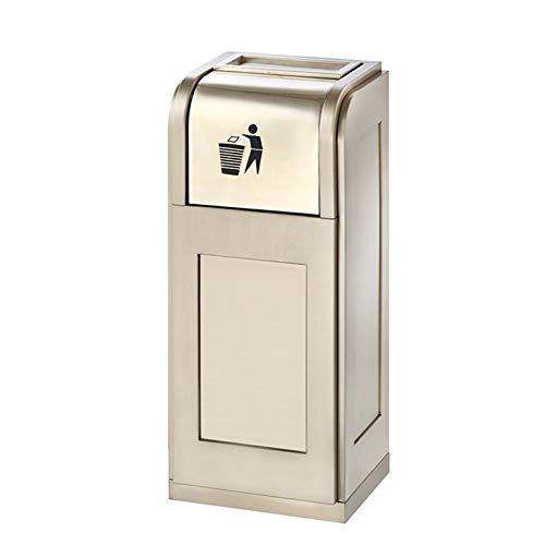 LICHUAN Papelera de metal con barril interior y cenicero, cubos de basura rectangulares para uso en interiores y exteriores, gran capacidad (color: dorado champán)