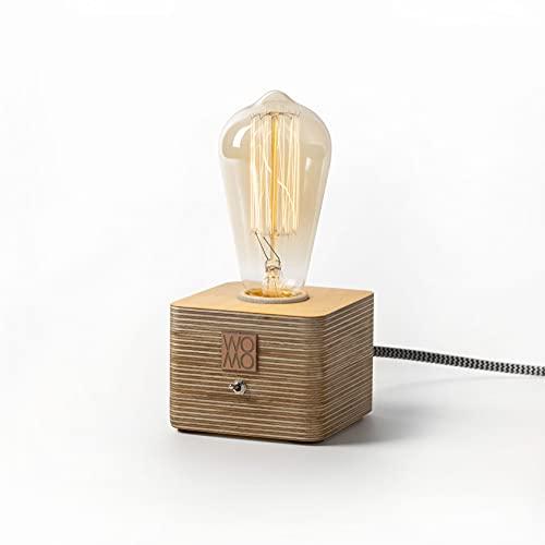Womo Design - Lampada da tavolo in legno, stile rustico, lampada da tavolo in legno, stile rustico, lampada da tavolo Edison