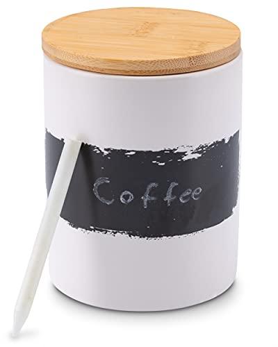 Lambda Coffee® Kaffeedose weiß aus Keramik 1000ml luftdicht | mit Kreide & Beschriftungstafel | Vorratsdose mit Holzdeckel zur Aufbewahrung von Kaffee, Mehl, Zucker, Tee, Nudeln etc.