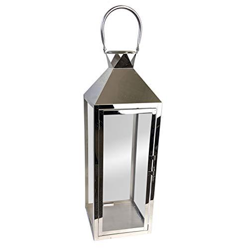 Wohaga Edelstahl Laterne 19x19xH56cm Silber Windlicht mit Echtglasscheiben Edelstahlkorpus mit Henkel