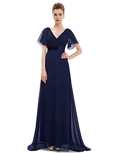 Ever-Pretty Damen Abendkleid Frau A-Linie Cocktailkleid V Ausschnitt Hochzeit Navy Blau 50