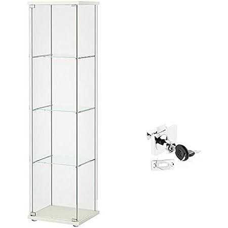 IKEA DETOLF cristal Curio vitrina blanco, con cerradura, cerradura se incluye