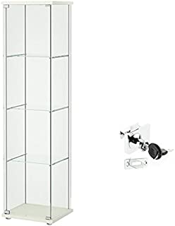 Ikea Detolf Glass Curio Display Cabinet White, Lockable, Lock Is Included
