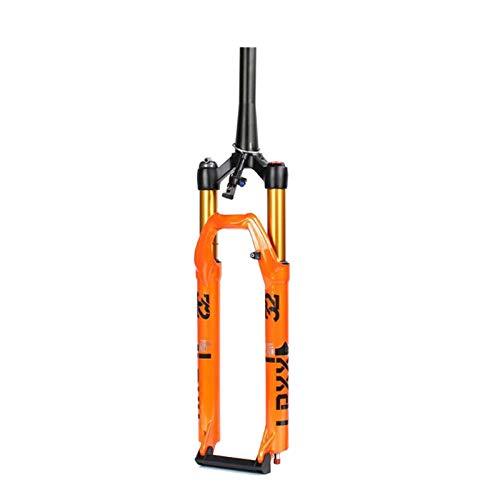 Horquillas de Suspensión,Tenedor Aire Control de Alambre Horquillas Suspensión Delantera MTB Bloqueo Remoto Accesorios Horquilla para Bicicleta (Color : Orange, Size : 27.5 Inch)
