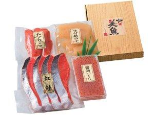紅鮭・魚卵詰め合わせ (いくら たらこ 数の子) 化粧箱入り贈答用向けギフトセット