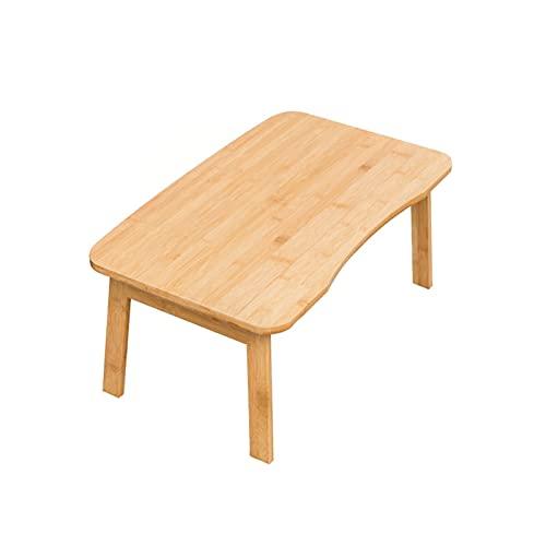 WXL Mesa de café pequeña moderna curvada de bambú mesa auxiliar creativa plegable para dormitorio, mesa de té para sala de estar, sofá, mesa auxiliar (color: color primario, tamaño: 80 x 50 x 34 cm)