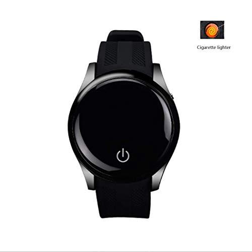 RHBKW Intelligentes Armband mit Feuerzeug für Männer Activity Tracker Uhr mit Schrittzähler Bluetooth Sport USB Elektronischer Zigarettenanzünder Eingehender Anruf Smartwatch zum Laufen Schwarz