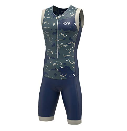KONA Assault Triathlon Race Suit - Speedsuit Skinsuit Trisuit Sleeveless - One-Piece Vest and Short Combo That Half zips with a Rear Pockets (Navy Camo, Medium)