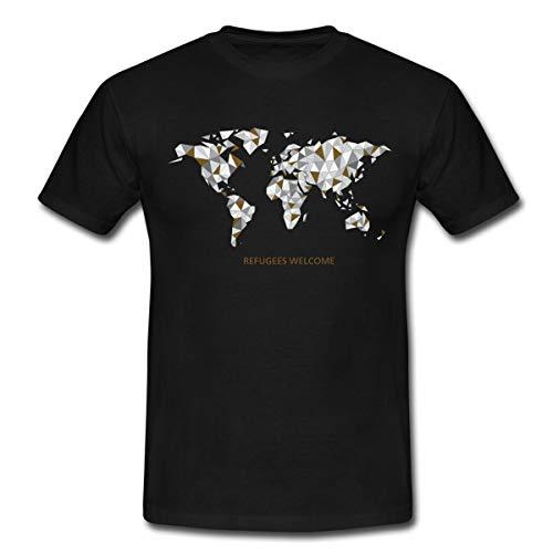 Refugees Welcome Origami Welt Männer T-Shirt, L, Schwarz
