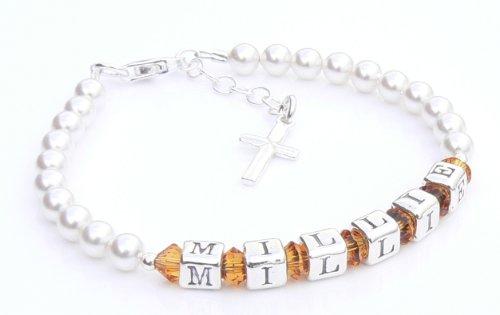 Eerste Heilige Communie Armband - Zilveren Naam Armband - Gepersonaliseerde Doos - Topaas Geboortesteen Kristal - Heilige Communie Geschenken