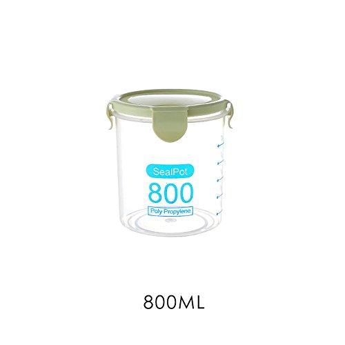 Plastic voedsel containers verzegelde doos vocht-proof classificatie opslag tank keuken vochtbestendige granen stapelbaar met deksel 800ML Groen