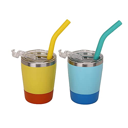 Sippy Cups for Toddlers, Double Wall Insulated Stainless Steel Tumbler with Reusable Straws and...