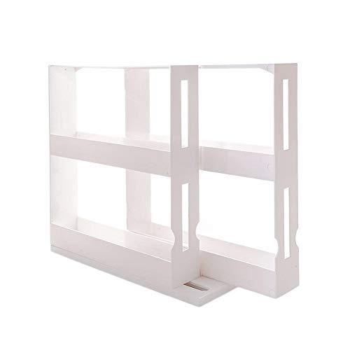 LIANA IRWIN Gewürzregal Doppelschicht Weiß aus Kunststoff,Gewürzregal Ausziehbar Kann um 90 °Schwenkbar werden,Küchenschrankorganizer für Gewürzdosen bis 5 cm Durchmesser